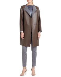 Lafayette 148 New York Channing Leather Topper Coat Brown Gray