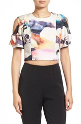 Kendall Kylie Women's Graphic Ruffle Sleeve Crop Top