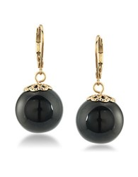 Trina Turk 14K Gold Plated Bead Linear Drop Earrings Black