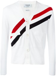 Thom Browne Striped V Neck Cardigan White
