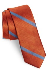 The Tie Bar 'S Goal Line Stripe Silk Skinny Orange