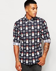 Asos Christmas Snowflake Shirt In Long Sleeves Navy