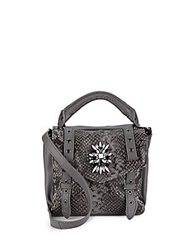 Cynthia Rowley Posy Jewel Embellished Snake Embossed Leather Mini Crossbody Slate Grey