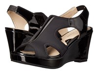 Adrienne Vittadini Clove Black Stretch Patent Women's Wedge Shoes
