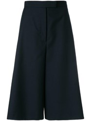 Thom Browne Button Vent High Waisted Wool Culotte Blue