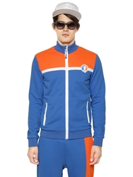 Dirk Bikkembergs Two Tone Zip Up Cotton Sweatshirt Orange Blue