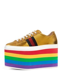 Gucci Peggy Leather Platform Sneaker Rainbow Gold Rainbow Gold