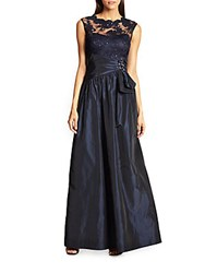 Teri Jon By Rickie Freeman Taffeta Gown Navy