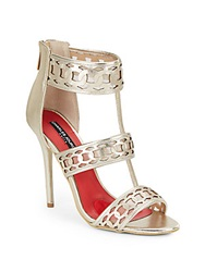 Charles Jourdan Layton Metallic Leather And Mesh Strappy Sandals Platinum