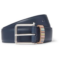 Paul Smith 3Cm Navy Stripe Trimmed Leather Belt Navy