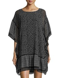 Max Studio Printed Crimped Shirting Dress Black White