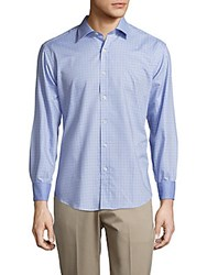 Bugatchi Checked Shaped Fit Cotton Shirt Sky