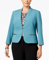 Nine West Plus Size Taylor Zip Pocket Blazer Harbor Blue