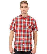 Timberland Allendale River Plaid Poplin Shirt Haute Red Yarn Dye Men's Clothing