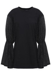 Mother Of Pearl Woman Gathered Jacquard Paneled French Cotton Terry Top Black