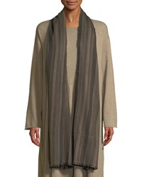 Eskandar Bhutanese Striped Hand Woven Cashmere Scarf Olive