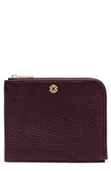 Dagne Dover Small Elle Whipstitch Leather Clutch Burgundy Oxblood