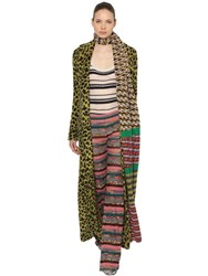 Missoni Leopard Intarsia Mohair Knit Coat Multicolor