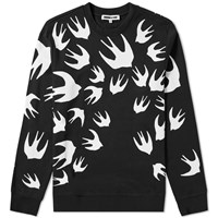 Mcq By Alexander Mcqueen Large Swallow Print Sweat Black