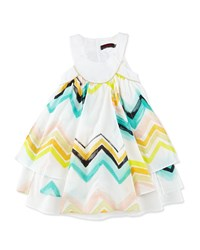 Catimini Sleeveless Paneled Zigzag Dress White Multicolor