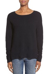 Petite Women's Caslon Back Zip High Low Sweater Black