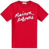 Maison Kitsune Handwriting Tee Red