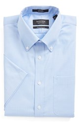 Men's Big And Tall Nordstrom Traditional Fit Non Iron Short Sleeve Dress Shirt Blue Bell