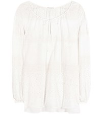 Saint Laurent Embroidered Blouse White
