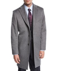 Neiman Marcus Single Breasted Cashmere Top Coat Gray