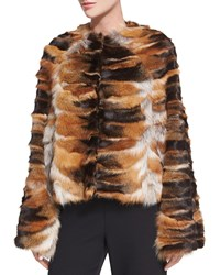 Rosetta Getty Bell Sleeve Chubby Fox Fur Coat Brown Red Brown Red