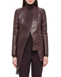Akris Woven Panel Leather Long Jacket Aubergine