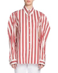 Convertible Striped Cotton Blouse Red White Red White