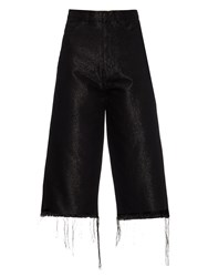 Marques Almeida Frayed Edge Wide Leg Cropped Jeans