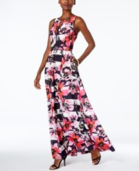 Vince Camuto Floral Print Striped Maxi Dress Pink Navy White