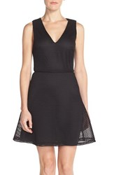 Women's Charles Henry Mesh Fit And Flare Dress