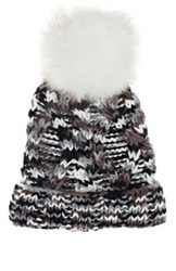 Barneys New York Women's Cable Knit Pom Pom Embellished Hat Grey