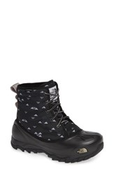 The North Face Tsumoru Waterproof Insulated Snow Boot Black Weave Print Foil Grey