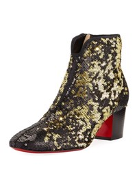 Christian Louboutin Disco Sequined Red Sole Bootie Black Gold