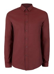 Topman Red Burgundy And Black Stretch Skinny Fit Dress Shirt