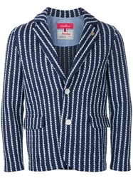 Coohem Striped Tweed Jacket Blue