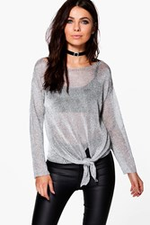 Boohoo Metallic Oversize Jumper With Tie Front Silver