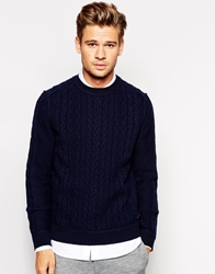 Boss Orange Jumper With Cable Knit Navy
