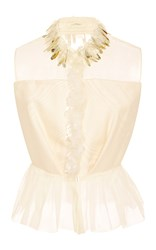 Delpozo Button Up Peplum Top White