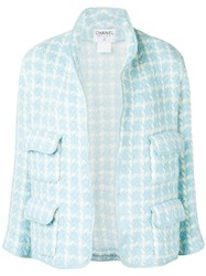 Chanel Vintage 1996'S Checked Jacket Blue