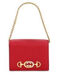 Gucci Mini Zumi Leather Wallet Hibiscus Red