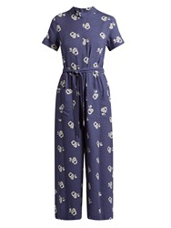 Sea Geometric Floral Print Cotton Blend Jumpsuit Blue White