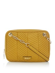 Biba Dee Pleated Shoulder Leather Bag Yellow