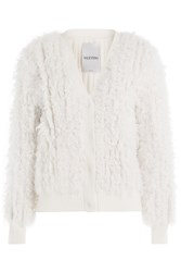 Valentino Cashmere And Shearling Cardigan White