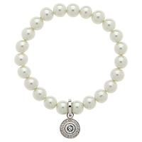 Finesse Faux Pearl Crystal Rhodium Plating Bracelet White