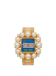 Miu Miu Faux Pearl Embellished Watch Bracelet Gold